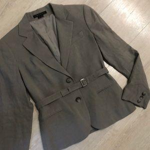 Warm grey linen single breasted blazer jacket